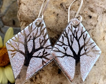 Dichroic Earrings, Silver Translucent Trees, Hand Etched Dichroic Fused Glass & Sterling Silver Handmade Wires