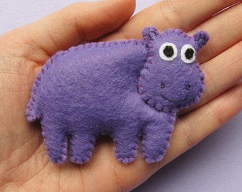 Hippo, cute felt animal brooch