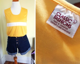 Vintage Yellow and White Stripe Muscle Top