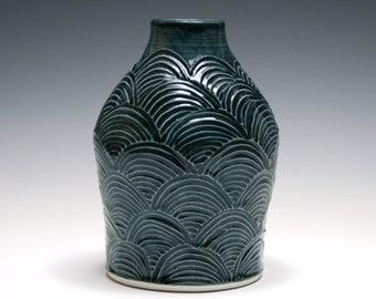 Dark Blue Vase with Carved Scallop Design