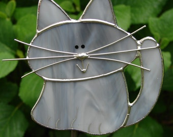 Stained Glass Grey Cat Garden Stake