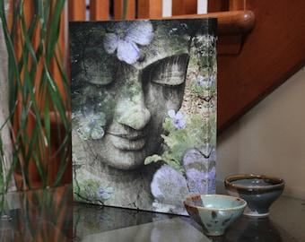 Green Buddha Canvas - 8x10 Buddhist Picture - Zen Buddha Art by Christopher Beikmann - inner Tranquility