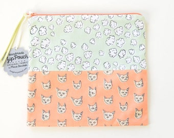 Gritty Kitties + Popcorn Clouds Flat Patchwork Pouch | Salmon Orange and Mint Green Original Fabric