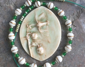 Long gold green and white handmade clay bead necklace -sale