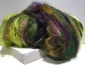 "Spinning batt, felting wool fiber, roving ""Wicked"" fiber art batt black, olive hunter lime yellow green gold brown violet purple, Elphaba"
