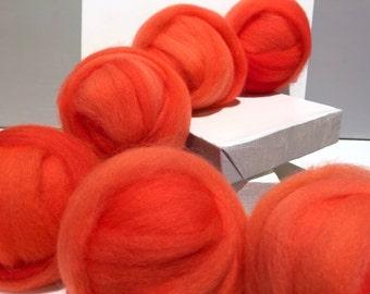 Vivid Salmon wool, roving, Needle Felting wool, Spinning fiber, roving, hand dyed, w/ 3 free samples, salmon pink, orange