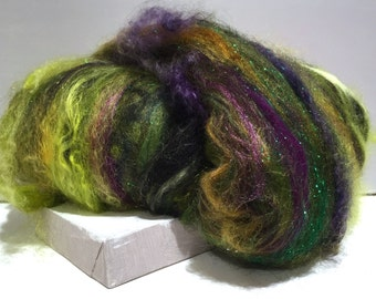 "Spinning batt, felting wool fiber, roving ""Wicked"" fiber art batt black, olive hunter lime yellow green gold brown violet purple, Elphaba"