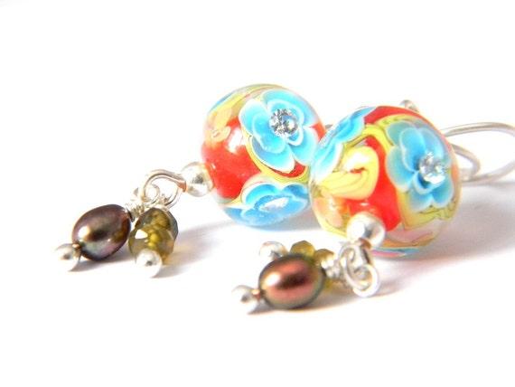 Poppy Sakura Short Earrings - Lampwork Glass and Sterling Silver