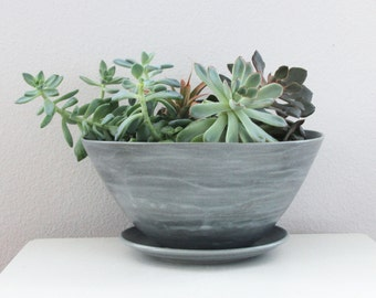 Grey Planter with Drainage and Detachable Catch Plate - Modern Porcelain Planter Pot in Steel Grey - Blue Grey Ceramic Planter Pot