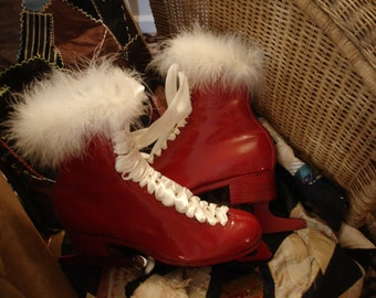 Valentines Day*Leather vintage red racer ice skates*Original creation*Decoration*Door decor*Great