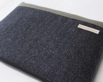"Lenovo Yoga LaVie Sleeve 11.6"", 13.3"", 15.6"" MacBook Air Pro Case Toshiba Kirabook Cover  - Gray Herringbone Wool"