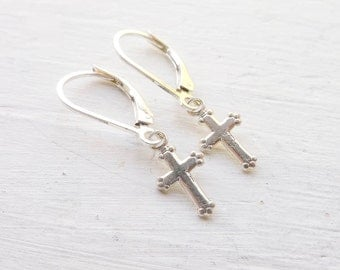 Cross Earings Sterling Silver Leverback Earrings Delicate Lever Back Earrings with Crosses Baptism Jewelry