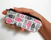 Mini Key Chain Zipper Pouch ECO Friendly Padded Lip Balm Case NEW Pink Owls