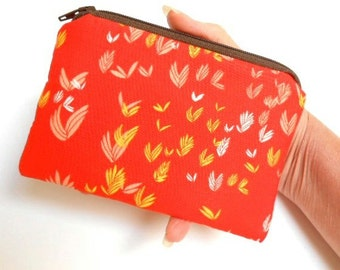 Little Padded Zipper Pouch Coin Purse ECO Friendly NEW Orange Breeze