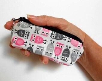 SALE Mini Key Chain Zipper Pouch ECO Friendly Padded Lip Balm Case Pink Owls
