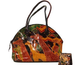 90s Painted Leather Purse / Vintage 1990s Tooled Leather Safari Bag / Giraffe Shoulder Bag with Coin Purse / Ethnic Tribal Indian Boho