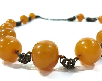 1960s Amber Necklace / Vintage Butterscotch Baltic Amber Necklace with Chain Mail