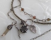 Silver Multi Strand Multistrand Necklace Triple Layered Charm Necklace