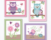 Set of Four Happy Owl and Friends Nursery Wall Art Prints/Posters. Made to Match Happy Owl Bedding. Cute! 3 sizes available!