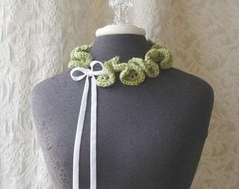 Keepsake Neck Ruffle 004 - Crocheted Scarflette - Sage Green - Ready to Ship