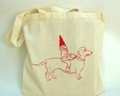 Dachshund and Gnome Cotton Tote Bag,  Hand Printed, Economy Light Weight Tote, Book Bag, Hostess Gift, Teachers Gift