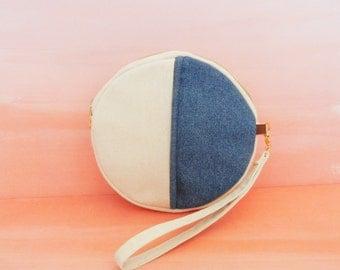 Round Mini Circle Denim Canvas Wristlet Cosmetic Case Bag