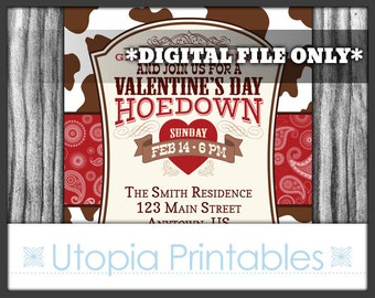 Valentine's Day Hoedown Invitation Rustic Country Western or Southern Theme Old West Party Digital Printable Customized Red Brown Cowhide