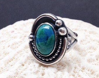 Green Stone Ring, Size 7 Parrot Wing Chrysocolla Ring, Artisan Handcrafted Sterling Silver Silversmith Bohemian Cocktail Ring Boho Chic