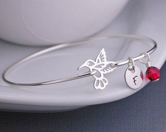 Hummingbird Jewelry, Hummingbird Bracelet, Stackable Sterling Silver Bangle Bracelet, Ruby Birthstone, Bird Jewelry