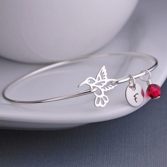 Hummingbird Jewelry, Hummingbird Bracelet, Stackable Sterling Silver Bangle Bracelet, Ruby Birthstone, Bird Jewelry