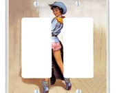 Gil Elvgren Cowgirl Pin-Up - Double Rocker Light Switch Plate - Red, Blue, Tan