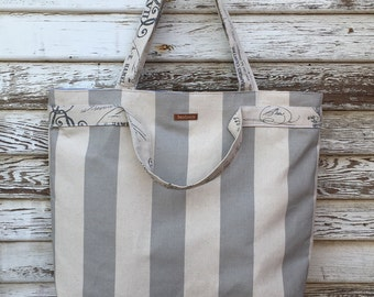 Tote Bag-Gray Striped-Handbag-BeachTote-Shopping Tote- Purse- Shoulder Bag-Joslyn Bag-Gray Stripes