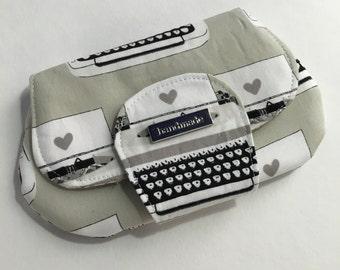 Clutch Purse- Small Purse- Pocket Clutch-wallet-handbag-gray black typewriters