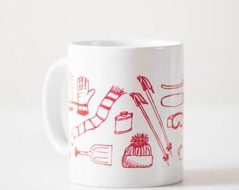 Ski Tools mug - White and Red - screen printed skiing gear coffee cup