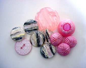 Lovely Lot of Various Vintage Pink Buttons
