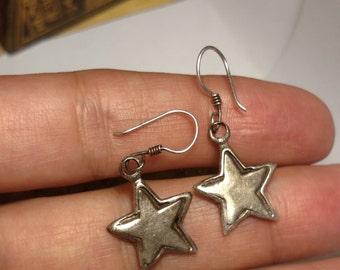 Stunning Vintage 925 Sterling Silver Star Drop Dangle Earrings Pierced Rock Star Burlesque Boho Jewelry