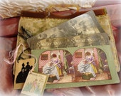 shabby antique cut velvet bag bridge tallies stereograph cards