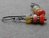 Fire Opal Earrings Orange Gemstone Earrings Oxidized Sterling Silver Earrings Gift for Girlfriend October Birthstone Earrings