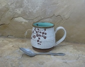 Mug Cup - Handmade Stoneware Pottery Ceramic - White and Turquoise Blue - Branch and Fly - 14 ounce