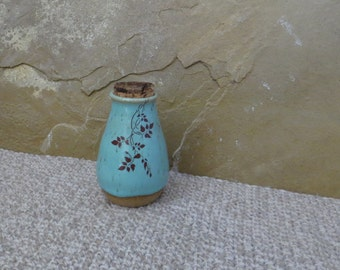 Teeny Wee Canister Jar - Handmade Stoneware Ceramic Pottery - Blue Celadon and White - Vines - 4 ounces