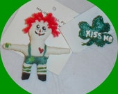 St. Patricks Day Pin. Raggedy Andy Doll. Shamrock Pin. Irish