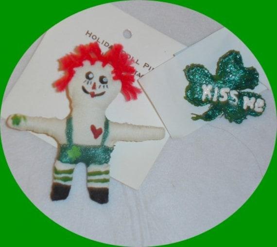St. Patricks Day Pin. Raggedy Andy Doll. Shamrock Pin. Irish