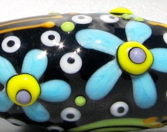 SALE!! Flower Power Graffiti Chunky Oval Barrel--Handmade Lampwork Glass Bead