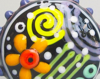 Big Graffiti Puffy Patty--Handmade Lampwork Bead