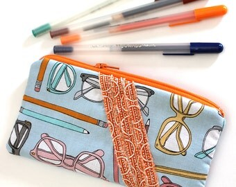 Blue and orange pencil pouch. cash wallet, zipper pouch. office supplies purse with zipper. journal bible Padded pack. -Ready to ship