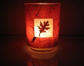 Real Autumn Oak Leaf Earth Light - botanical candle, candle holder, leaf candle holder, pressed leaf, Autumn, natural, woodland, glass, ooak