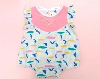 Organic cotton Seagull baby sunsuit toddler romper Supayana