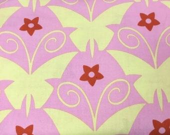 Sale Jane Sassman Butterfly Garden Pink Yellow Cotton Fabric BTY OOP RARE shereesalchemy