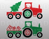 Christmas SVG,Farm Tractor Monogram SVG File Cutting Template-Vector Clip Art for Commercial and Personal Use-Download-Cricut,Cameo,Explore