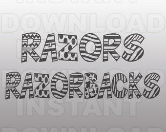Razorbacks SVG File - Razors Sports SVG File - Varsity SVG - Vector Clip Art-Commercial & Personal Use-Cricut Design Space, Silhouette Cameo